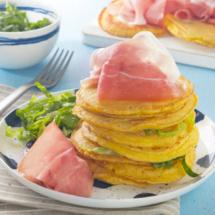 Pancakes de thym au jambon de Parme