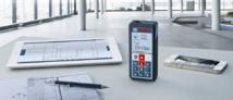 """BOSCH - Télémètre GLM 100 C Professional Bosch et nouvelle application """"GLM Floor Plan"""" Pour rester connecté avec vos chantiers"""