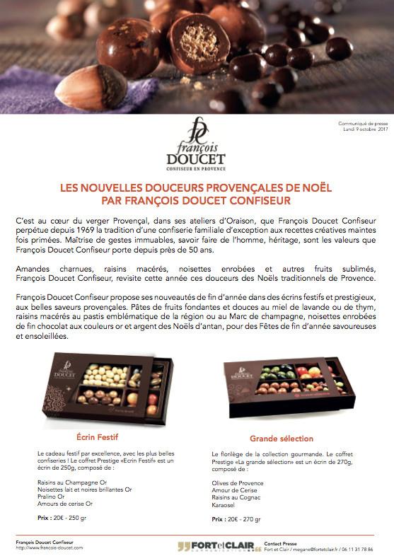 LES NOUVELLES DOUCEURS PROVENÇALES DE NOËL PAR FRANCOIS DOUCET CONFISEUR