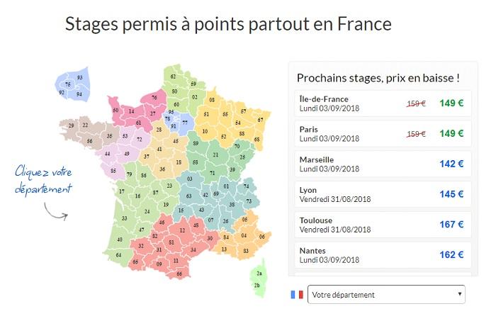 Stages de permis à points dans toute la France