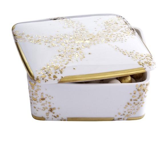 Communiqué de presse : porcelaine Poussière d'Or Laure Sélignac Paris
