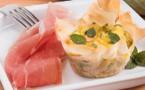 Recette du consortium du Jambon de Parme : Quiche à la courgette, menthe et Jambon de Parme